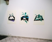 Anne Renaud // Piscine n° 7 // huile et glycéro sur papier // 70 x 100 cm // 2013 // Cubes // huile et glycéro sur papier // 70 x 100 cm // 2012 // Piscine n° 6 // huile et glycéro sur papier // 70 x 100 cm // 2013