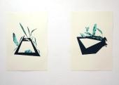 Anne Renaud // Piscine n°1 // Piscine n°2 // huile et glycéro sur papier // 70 x 100 cm // 2012
